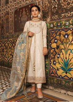 Buy Qalamkar Noor e Chasham Luxury Festive Collection 2019 Embroidered Schiffli Unstitched 3 Piece Suit from Sanaulla Store - Original Products. Pakistani Formal Dresses, Pakistani Fashion Party Wear, Pakistani Wedding Outfits, Pakistani Dress Design, Nikkah Dress, Latest Pakistani Fashion, Indian Attire, Indian Wear, Indian Outfits