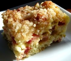 Karis' Kitchen   A Vegetarian Food Blog: Rhubarb Cake - delicious! I cut the sugar down to 3/4 cup and used 1/4 whole wheat flour.