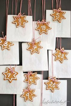 { love this advent calendar . super lovely but simple iced cookie tags . tied with red / white twine . perfect for a simple christmas } . Christmas Countdown, Christmas Food Gifts, All Things Christmas, Christmas Cookies, Christmas Crafts, Christmas Decorations, Nordic Christmas, Christmas Mood, Merry Christmas