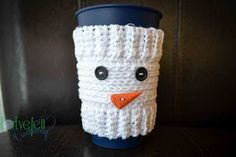 ForeverettCrocheting: Free Snowman Cup Cozy Crochet Pattern