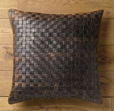 Basket Weave Leather Pillow Cover Chocolate