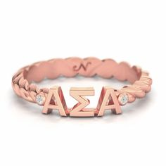 Alpha Sigma Alpha Rose Gold Pave Twist Letter Ring SALE $69.95. - Greek Clothing and Merchandise - Greek Gear®
