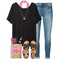 ootd - first day of school by okieprep on Polyvore featuring polyvore, fashion, style, Base Range, Current/Elliott, Free People, Jack Wills, Kendra Scott, J.Crew and Benefit