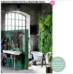 So much great stuff going on in this bathroom... via Bright Bazaar
