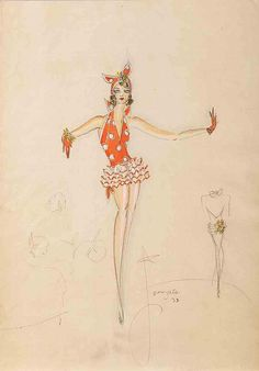 Charles Le Maire costume sketch of Alice Faye for George White's Scandals