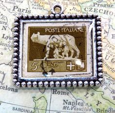 Vintage Italy Postage Stamp Poste Italiane 5 Cent She Wolf Stamp Necklace Pendant Key Ring by 12be on Etsy