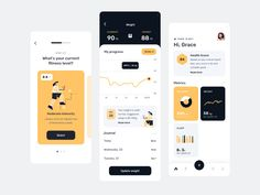 Fitness app UI by uxbloom on Dribbble Sleep Journal, Fitness App, App Ui, Mobile App, Mobile Applications