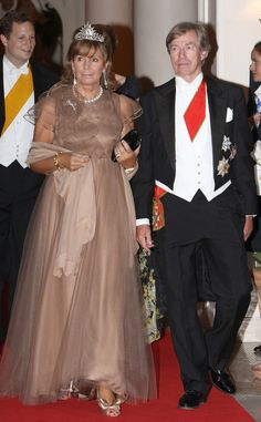 Princess Ursula of Bavaria, with her husband Leopold, nick-named Poldi. Princess Ursula wears the diamond sunburst tiara given by Queen Isabella II of Spain to her daughter, Infanta Maria de la Paz, when she wed Prince Ludwig of Bavaria