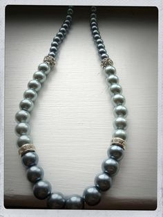 Slate blue pearl necklace with rhinestone spacers on Etsy, $15.00