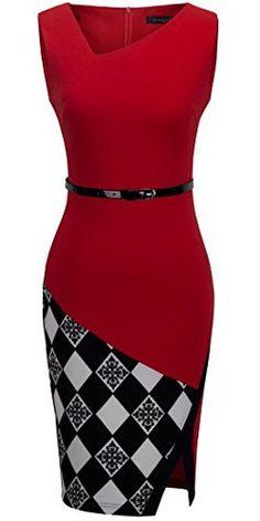 HOMEYEE Women's Elegant Patchwork Sheath Sleeveless Business Dress B290