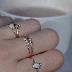 14kt Gold Opal Trio Ring #opalsaustralia