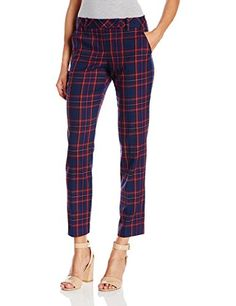 Trina Turk Womens Aubree Modern Tartan Plaid Slim Pant Multi 10 ** Read more reviews of the product by visiting the link on the image.(This is an Amazon affiliate link)