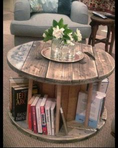 Spool table coffee table... I have one of these sitting in my back yard!!