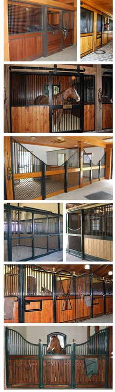 STRANGE RANCH BUILDINGS - AMAZING UPSCALE HORSE STALLS AND TRAINING FACILITIES - 6 SHOT SEQUENCE CUSTOM BUILT STALL - WROUGHT IRON RAILS