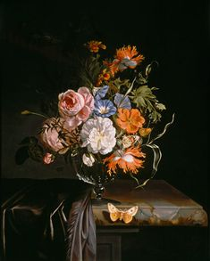 Rachel Ruysch-A Still Life of Flowers in a vase on a ledge