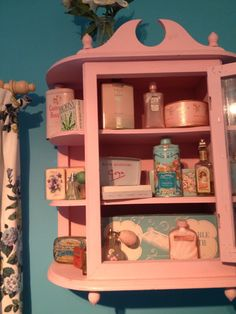 Lots of granny chic toiletries in my bathroom