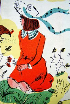 """Seated girl  From a 1944 edition (illustrated by Roger Duvoisin) of """"A Child's Garden of Verse,"""" by Robert Louis Stevenson."""