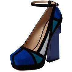 Aperlai Geisha Doll Colorblock Pump (5.845.125 IDR) ❤ liked on Polyvore featuring shoes, pumps, blue, ankle strap high heel pumps, leather platform pumps, ankle wrap pumps, platform pumps and blue high heel pumps