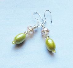 Chartreuse Miracle Bead and Czech Crystal Dangle Earrings w/925 Silver Hooks