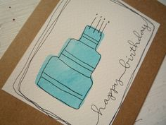 Happy Birthday Card With Original Watercolor & Ink Illustration Birthday Cake Blank Inside. $2.00, via Etsy.