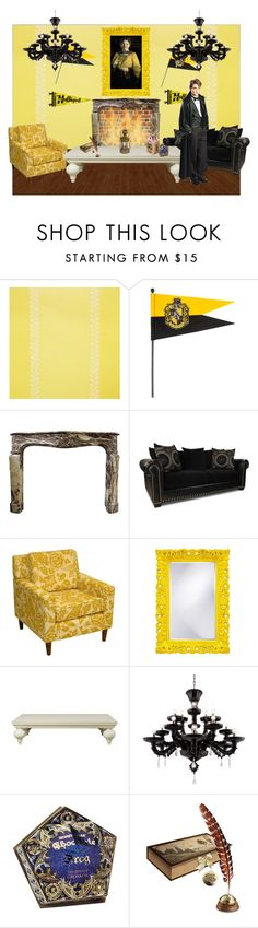 """Hufflepuff Common Room"" by harry-potter-girl ❤ liked on Polyvore featuring interior, interiors, interior design, home, home decor, interior decorating, Thibaut, Puji and Bertie"