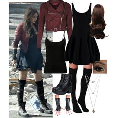 Scarlet Witch (Wanda Maximoff) by frozenfanatic2019 on Polyvore featuring polyvore, fashion, style, Halston Heritage, Plush, Wet Seal and Quiksilver