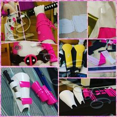 Sharing my tutorial/idea to make #Gwenpool's armor parts. Materials used are Eva foam sheets vinvyl fabric (2way stretch) contact adhesive /shoe glue/cement glue some masking tape papers velcro needle and threads. 1. Make templates from paper that fits your fore arm and shin shape them how you like. I did mine via free hand with measurements of my biggest and smallest circumference size to estimate credits to senpai @crimotaku's guidance. 2. Use the templates as guide to cut out foam…