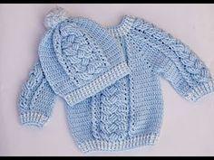 Crochet Very Easy Baby Hat Set – Crochet Ideas Crochet Baby Sweaters, Knitted Baby Clothes, Crochet Clothes, Baby Knitting, Bonnet Crochet, Knit Crochet, Crochet Hats, Crochet For Boys, Crochet Videos