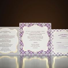 Purple and White Invitations