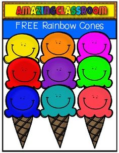 This cute clip art set includes 9 colorful rainbow cones and 1 black and white… Candy Theme Classroom, Free Clipart For Teachers, Classroom Clipart, Vip Kid, Classroom Background, Teacher Freebies, Clip Art, Cute Clipart, Free Graphics
