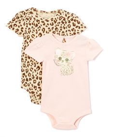 Look at this Baby Starters Light Pink & Beige Leopard Kitten Bodysuit Set - Infant on #zulily today!