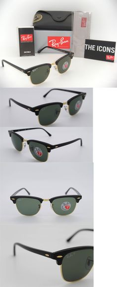 942f1b1185 Sunglasses 155189  Ray-Ban Authentic Clubmaster Rb 3016 901 58 Black Frame  Green Polarized