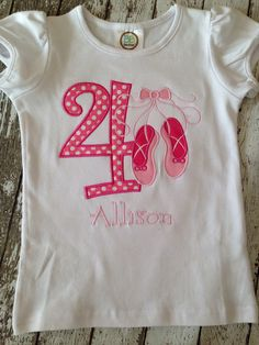 Ballerina Birthday Shirt - Personalized - Toddler Birthday Shirt - All Numbers Available - Girl Birthday - Ballet Party by Rubyandoliver on Etsy https://www.etsy.com/listing/222198185/ballerina-birthday-shirt-personalized