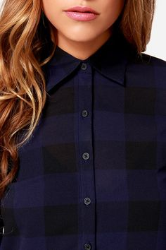 Navy Blue Plaid Shirt Dress