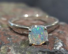 Natural Ethiopian Opal Ring Sterling Silver Size 6 -  Round Soliaire Gemstone Jewelry ID563