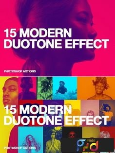 15 Modern Duotone Effect for Photoshop. All actions are adjustable with basic Photoshop skills. Web Design, Graphic Design Trends, Graphic Design Tutorials, Graphic Design Posters, Graphic Design Inspiration, Photoshop Design, Photoshop Tutorial, Photoshop Actions, Corporate Design
