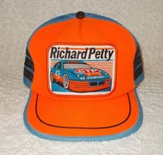 3dbc6626653 Vintage Richard Petty 43 STP Trucker Snapback Hat Mesh Farmer Patch 3  Stripe USA Richard Petty