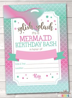 Mermaid Printable Birthday Party Invitation Erin Bradley Ink Obsession Designs