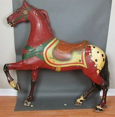 Image result for red painted carousel horse