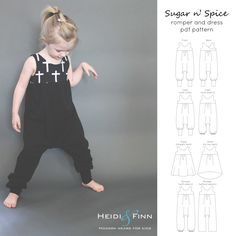 What a fun dress and romper for your little girl! This pattern is for the Sugar nSpice romper and dress  This pattern features two different outfits from one versatile bodice  The romper features a slimmer cut body than other harem-style rompers for a comfy fit without too much excess fabric (a more modern look), slim fit cross-over bodice that can be worn reversible, and several leg options (cuffed, elastic or loose). The dress features the same slim fit cross over bodice, and a gathered a…
