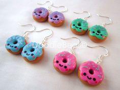 Kawaii Donut Sweets Polymer Clay Dangle Earrings. $10.00, via Etsy.