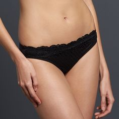 Simply Vera Vera Wang Lace Bikini Panty, Women's, Size: Medium, Black