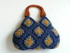 Crochet sentiu saco NzLbags, feltro de lã Crochet Granny Praça da Bolsa, máscaras maravilhosas marinha cor azul mostarda