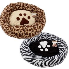 "Round Paw Print Dog Cat Pet Bed Crate  Mat Cushion 23 ""  zebra ,Leopard &black   #Unbranded"