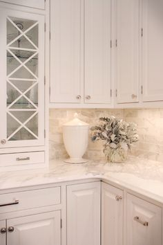 Elegant White Kitchen Utilizes Textures for Dimension - traditional - kitchen - cleveland - House of L Interior Design