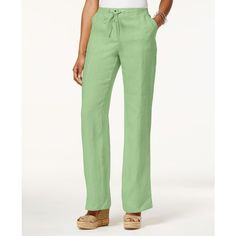 Jm Collection Drawstring-Waist Linen Pants, ($35) ❤ liked on Polyvore featuring pants, waterfall mint, jm collection, white trousers, jm collection pants, linen pants and white pants