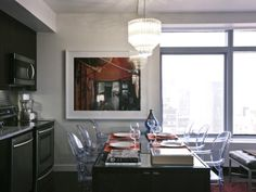 HGTV Urban Oasis NYC   in love with this tiny kitchen/dining area. vintage chandelier is amazing.