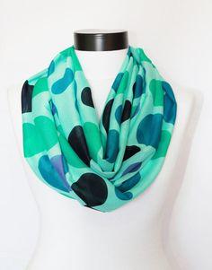 Chiffon mint polka dot Infinity  scarf by twobirdsgirl on Etsy, $16.90