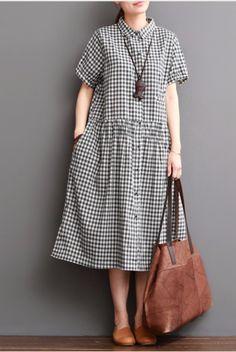 Causal Grid Dress Summer Women Clothes – Linen Dresses For Women Casual Dresses For Women, Casual Outfits, Clothes For Women, Dress Casual, Casual Chic, Casual Clothes, Linen Dresses, Women's Dresses, Dresses Online