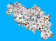 YUgoslavia through brands. Look how the number of brands decreases as you go south...